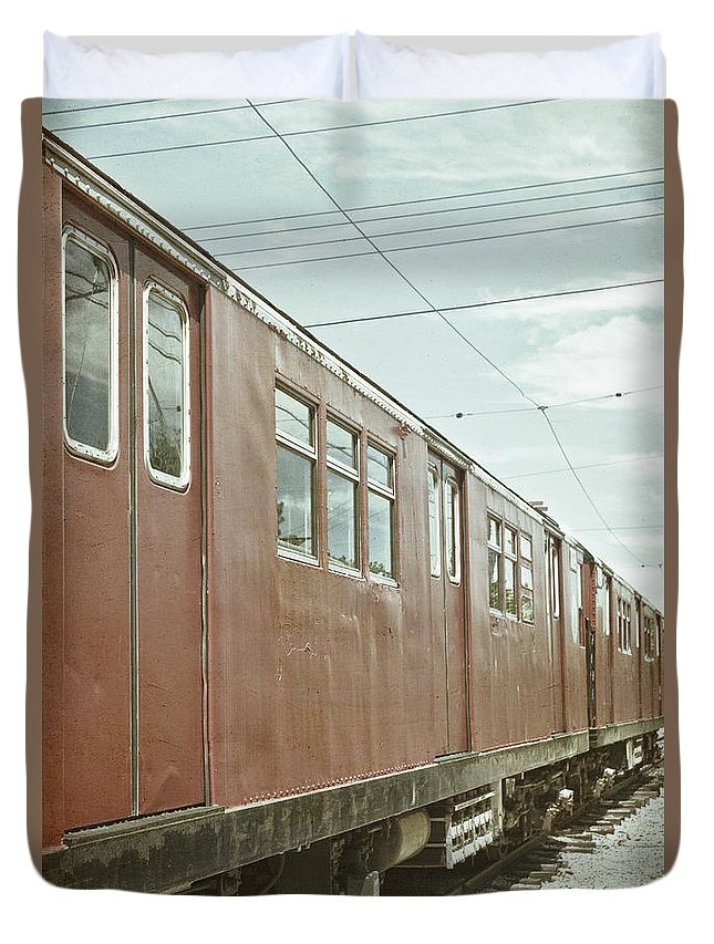Rail; Railroad; Tracks; Train Tracks; Train; No One; Metal; Line; Iron; Ties; Transportation; Stone; Pebbles; Outside; Locomotive; Electric; Vintage; Red; Sky Duvet Cover featuring the photograph Electric Train by Margie Hurwich