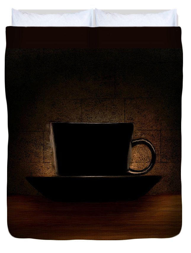 Coffee Duvet Cover featuring the digital art Elegantly Black by Lourry Legarde