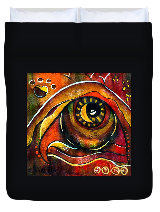 Duvet Cover featuring the painting Elementals Spirit Eye by Deborha Kerr