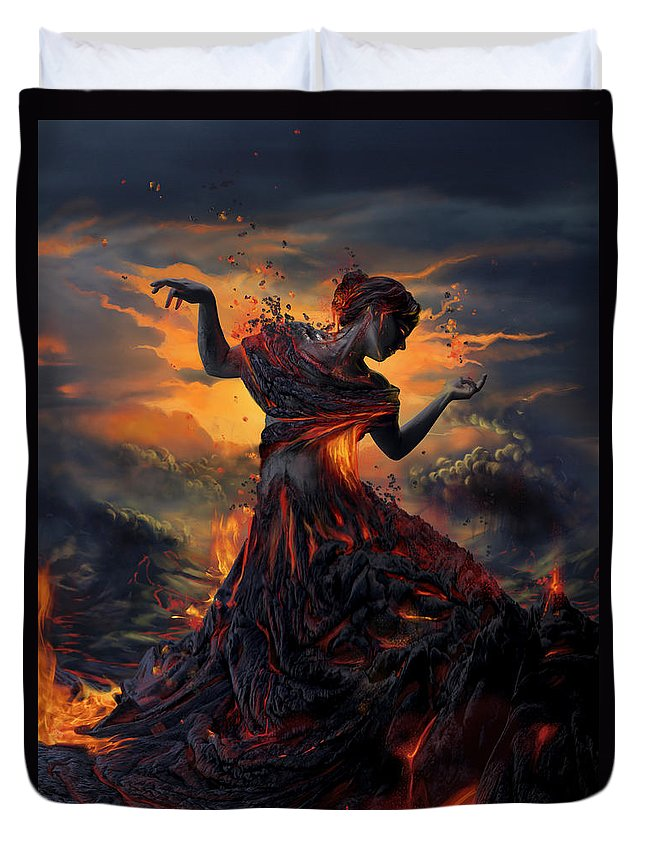 Fire Duvet Cover featuring the digital art Elements - Fire by Cassiopeia Art