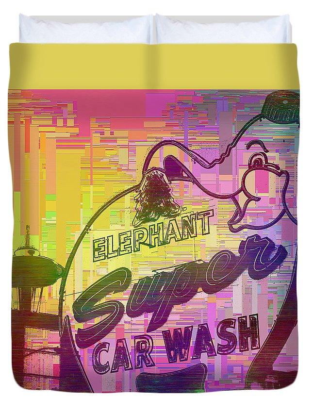 Car Wash Duvet Cover featuring the digital art Elephant Car Wash Cubed by Tim Allen