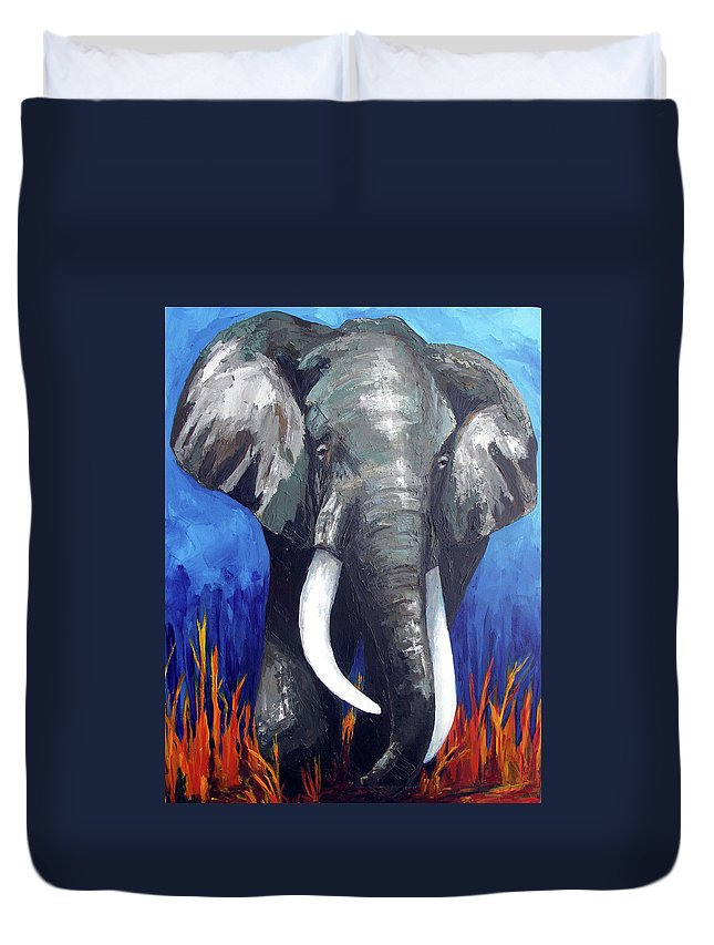 Elephant Duvet Cover featuring the painting Elephant - The Gentle by Patricia Awapara