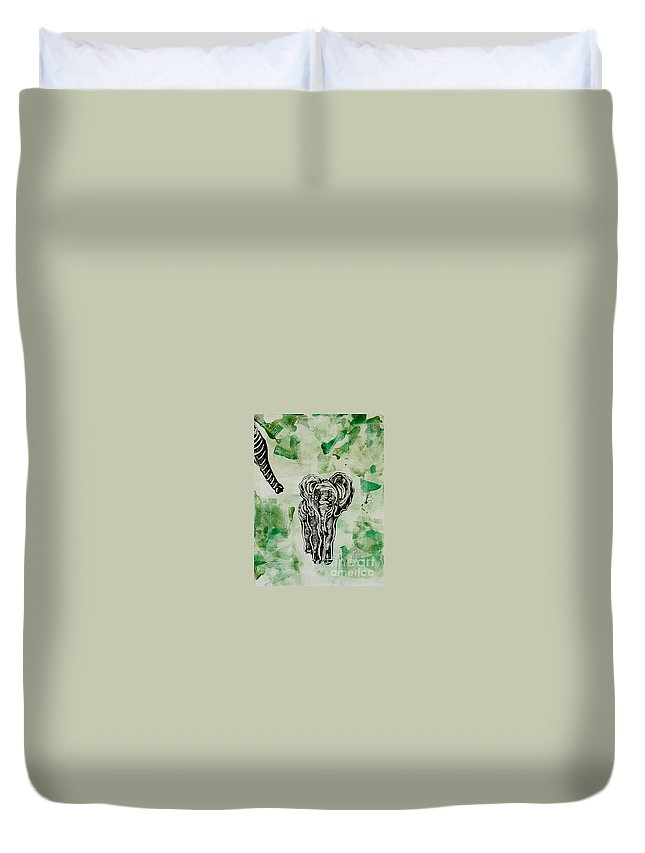 Elephant Duvet Cover featuring the mixed media Elephant Walk by Cori Solomon