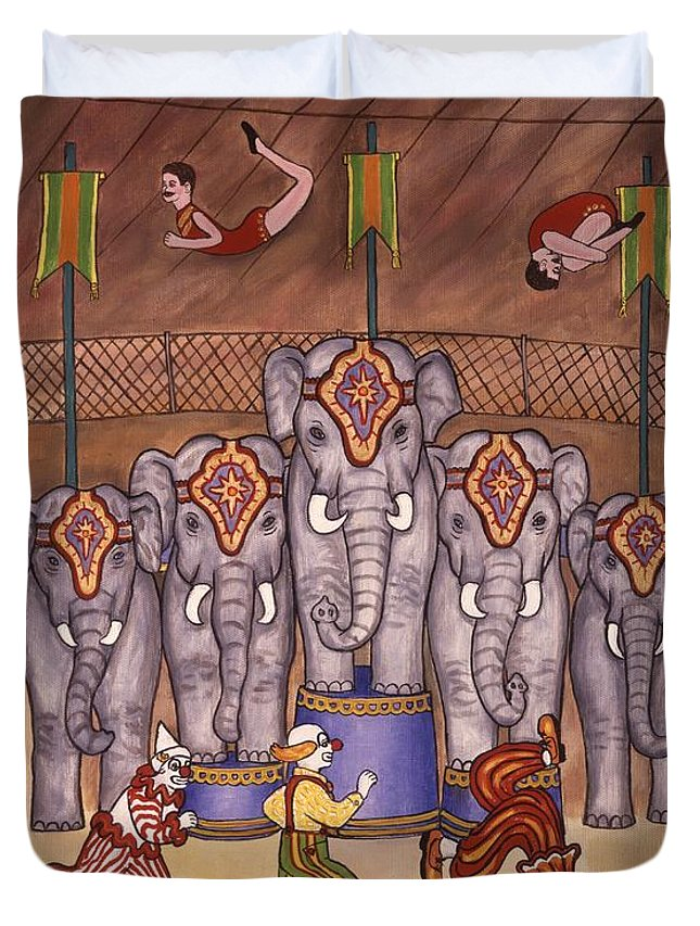 Circus Duvet Cover featuring the painting Elephants And Acrobats by Linda Mears