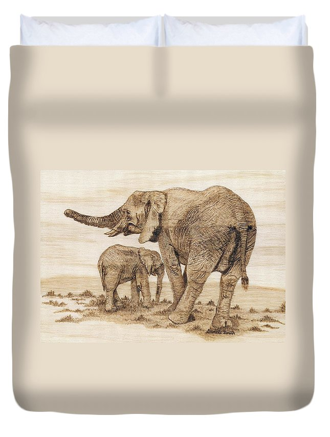 Elephants Duvet Cover featuring the pyrography Elephants by Danette Smith