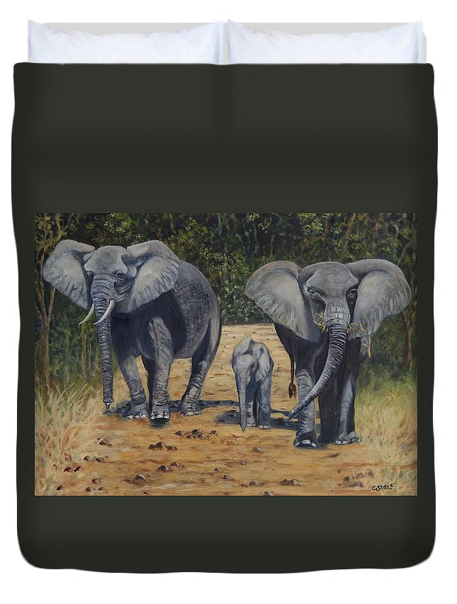 Elephant Duvet Cover featuring the painting Elephants With Calf by Caroline Street