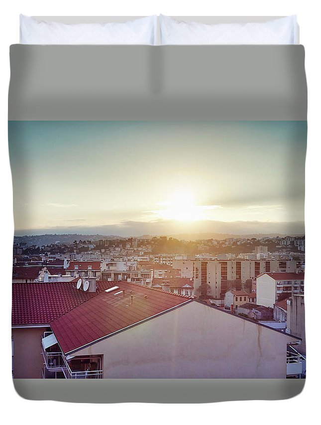 French Riviera Duvet Cover featuring the photograph Elevated View Of City, Nice, France by Gu