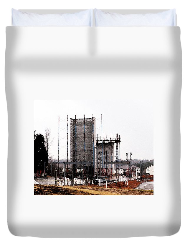 Elevator Duvet Cover featuring the photograph Elevator Going Up by Kathy Clark