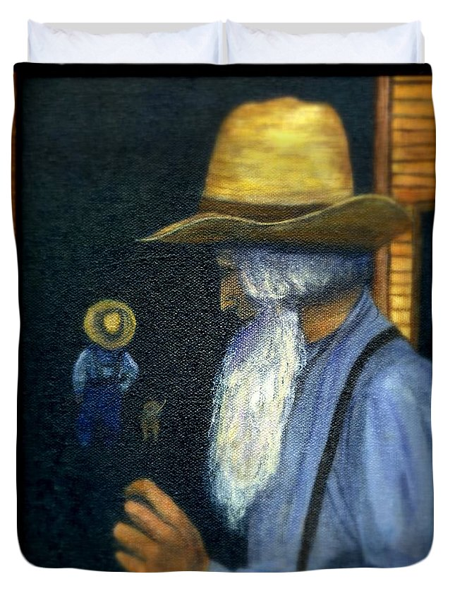 Men Duvet Cover featuring the painting Eli Remembers by Gail Kirtz