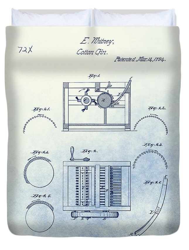 Eli Whitney Cotton Gin Patent Drawing Duvet Cover featuring the mixed media Eli Whitney's Cotton Gin Patent by Dan Sproul