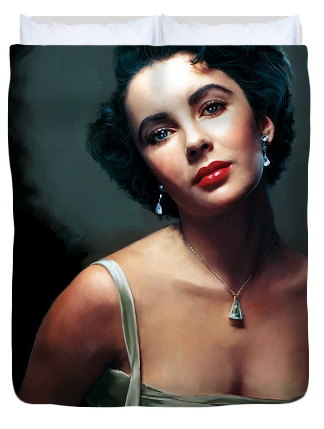 Elizabeth Duvet Cover featuring the painting Elizabeth Taylor by Paul Tagliamonte