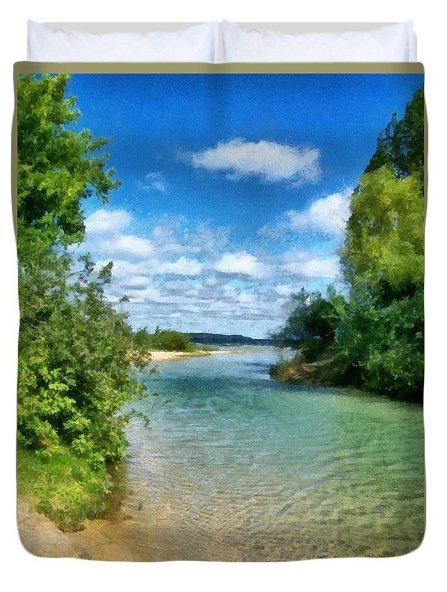 Elk Rapids Duvet Cover featuring the photograph Elk River- Elk Rapids Michigan by Michelle Calkins