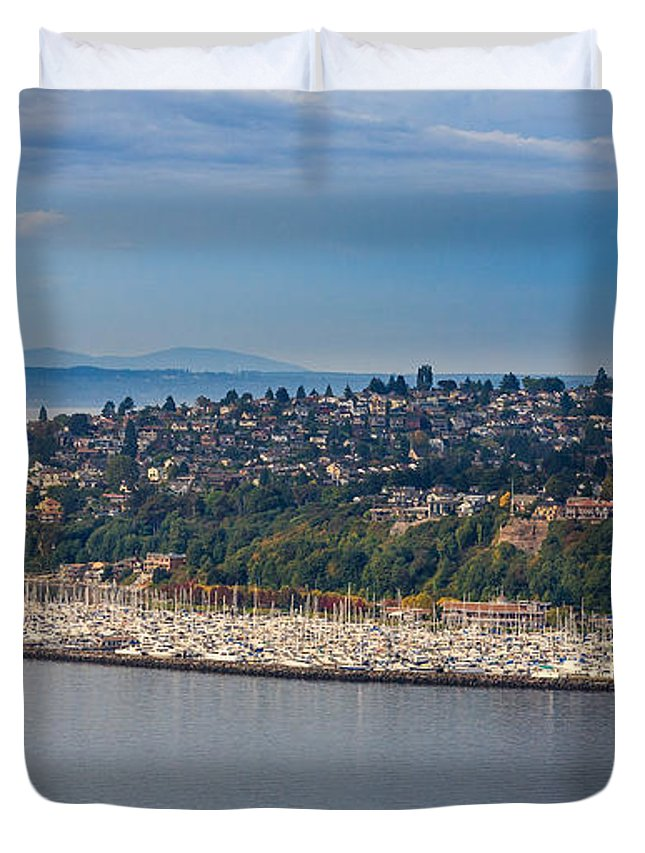 Elliott Bay Marina Duvet Cover featuring the photograph Elliott Bay Marina by Mike Penney