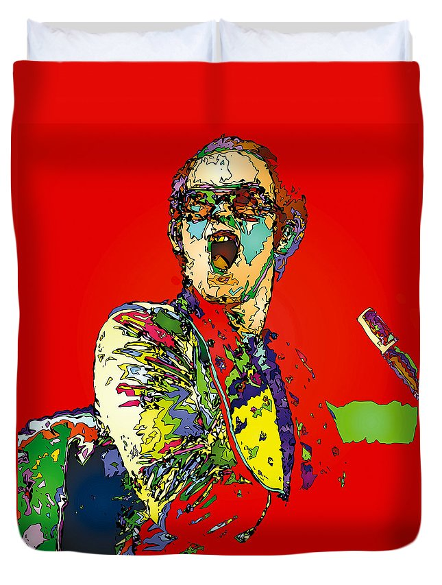 Elton John Duvet Cover featuring the painting Elton in Red by John Farr