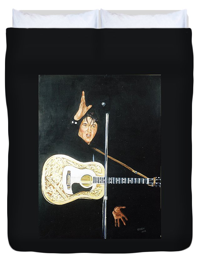 Elvis Presley Duvet Cover featuring the painting Elvis 1956 by Bryan Bustard