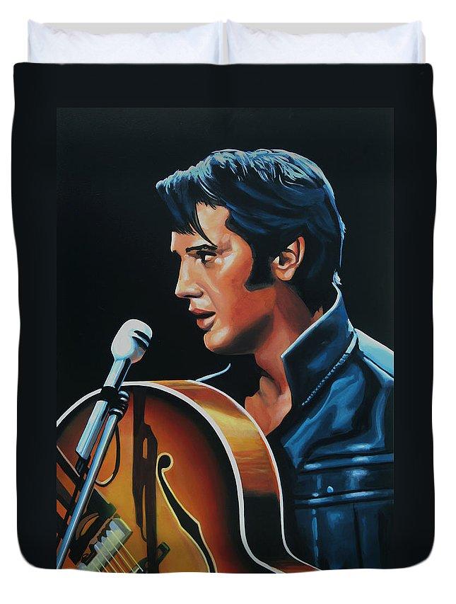 Elvis Duvet Cover featuring the painting Elvis Presley 3 Painting by Paul Meijering