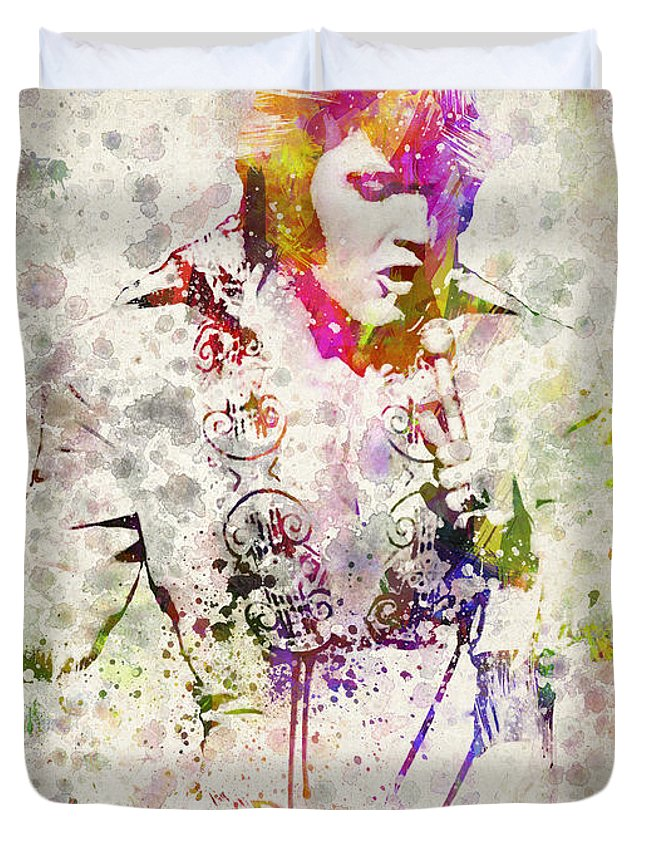 Elvis Presley Duvet Cover featuring the drawing Elvis Presley by Aged Pixel