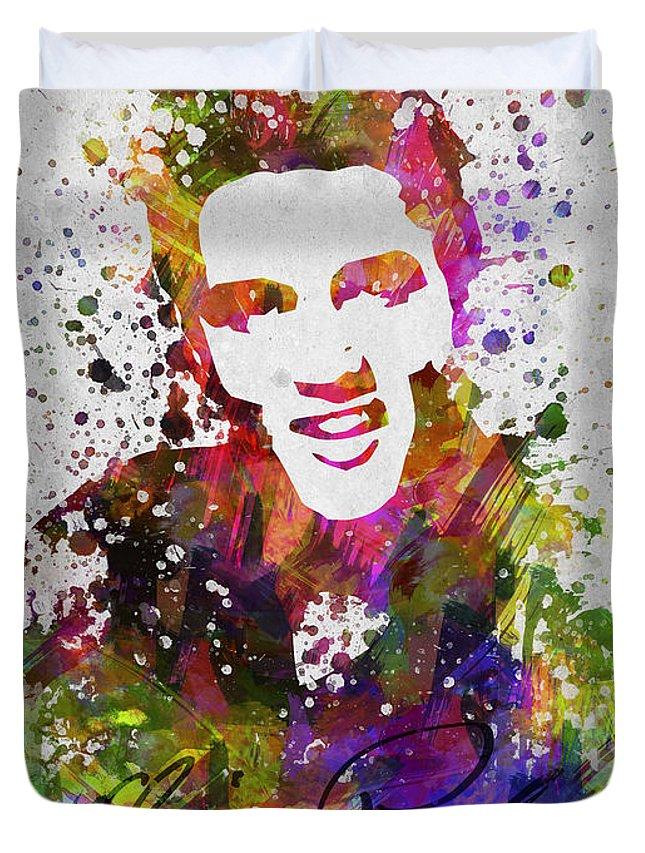 Elvis Presley Duvet Cover featuring the digital art Elvis Presley in Color by Aged Pixel
