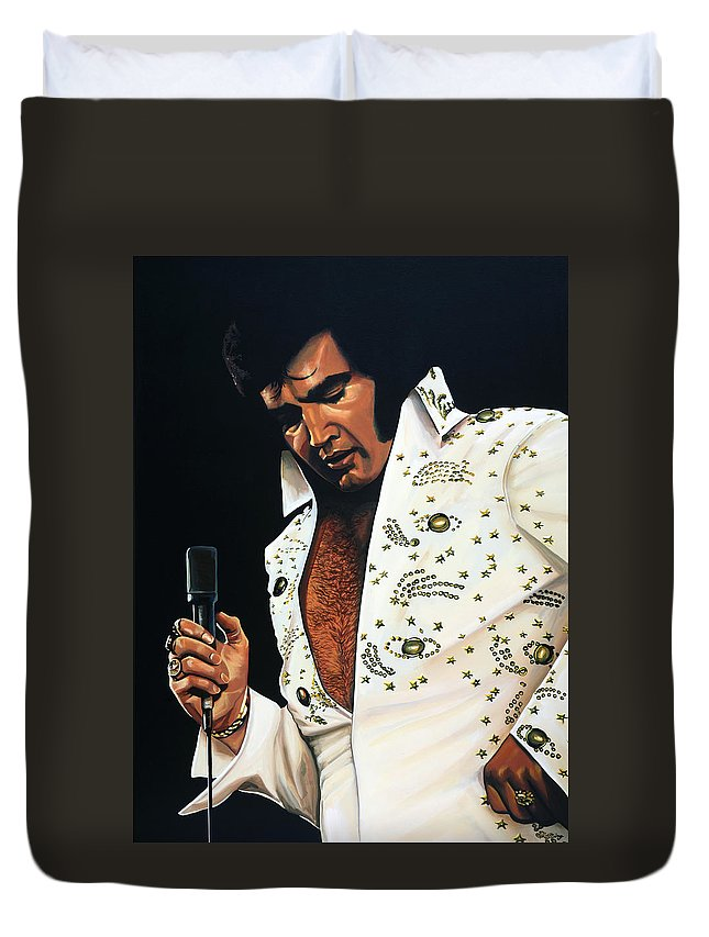 Elvis Duvet Cover featuring the painting Elvis Presley Painting by Paul Meijering