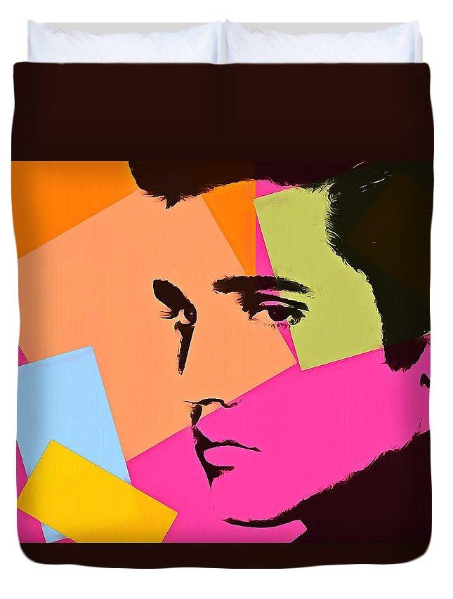Elvis Presley Pop Art Duvet Cover featuring the digital art Elvis Presley Pop Art by Dan Sproul