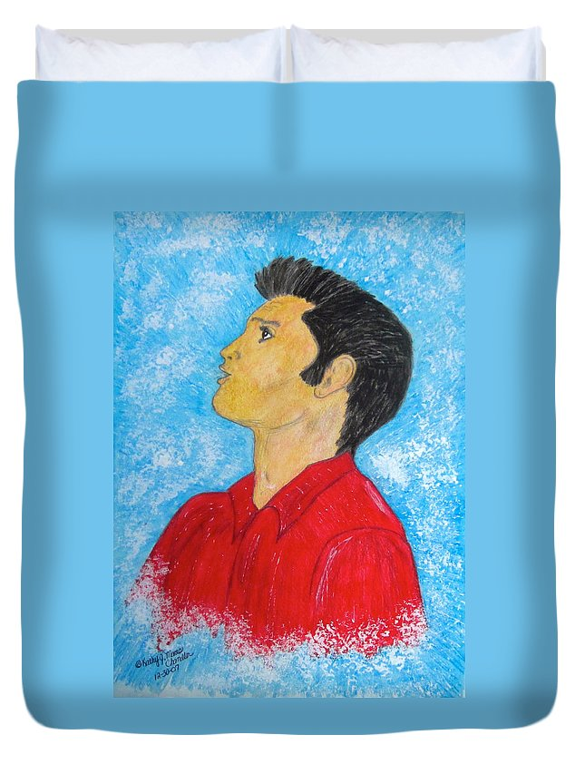 Elvis Presely Duvet Cover featuring the painting Elvis Presley Singing by Kathy Marrs Chandler