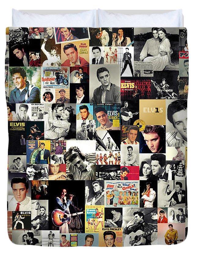 Elvis Presley Duvet Cover featuring the digital art Elvis The King by Zapista OU