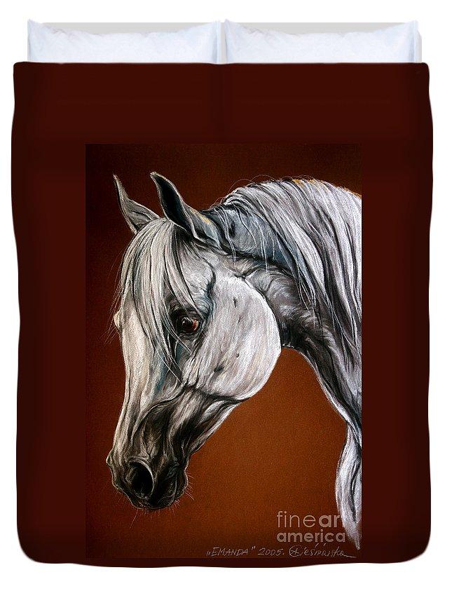 Arabian Duvet Cover featuring the drawing Emanda by Angel Ciesniarska