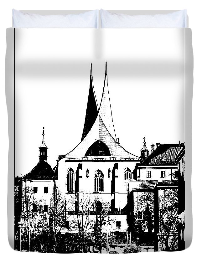 Prague Duvet Cover featuring the mixed media Emauzy - Benedictine Monastery by Michal Boubin