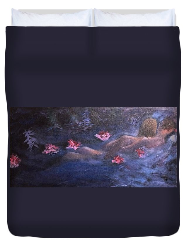 Swim Duvet Cover featuring the painting Embrace by R B