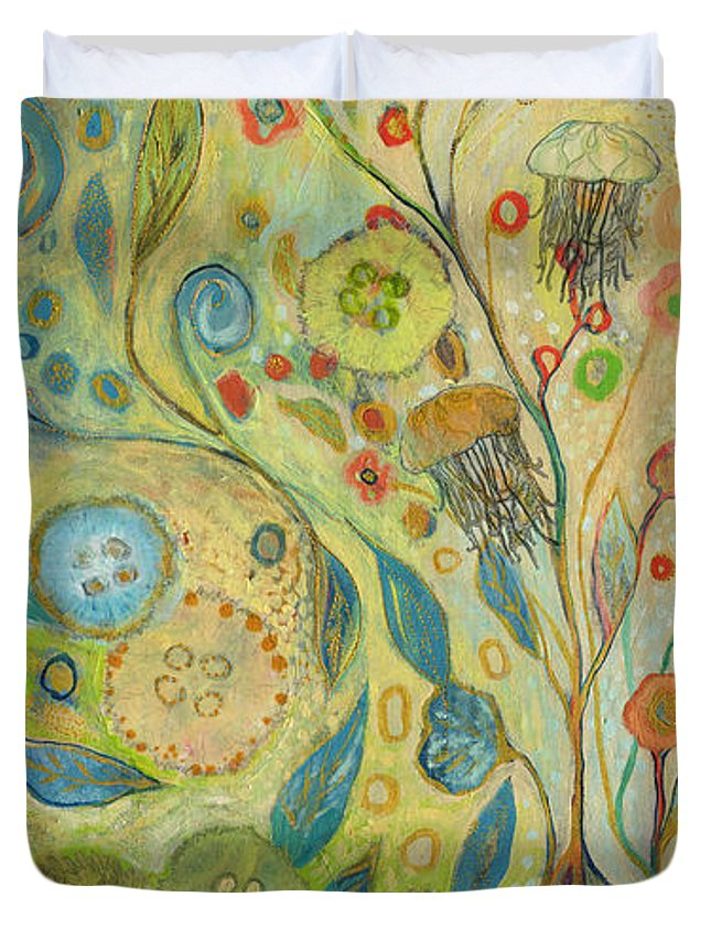 Underwater Duvet Cover featuring the painting Embracing The Journey by Jennifer Lommers