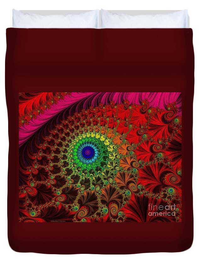 Embroidered Silk And Beads - Horizontal Duvet Cover featuring the digital art Embroidered Silk And Beads - Horizontal by Mary Machare