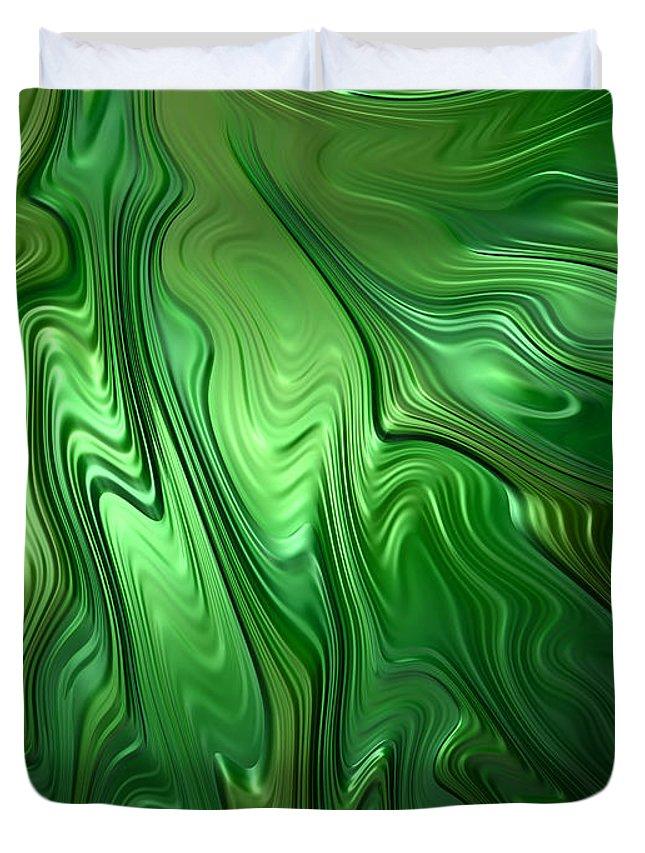 Green Duvet Cover featuring the digital art Emerald Flow by John Edwards