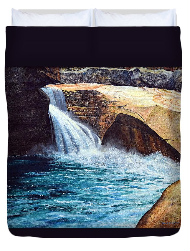 Emerald Pool Duvet Cover featuring the painting Emerald Pool by Frank Wilson