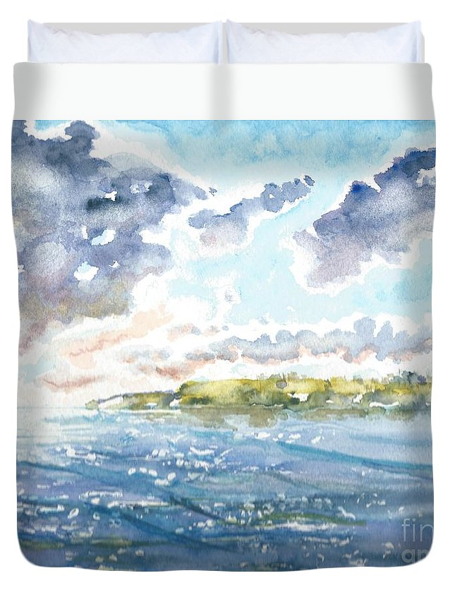 Clouds Duvet Cover featuring the painting Emerging Sun by Reed Novotny