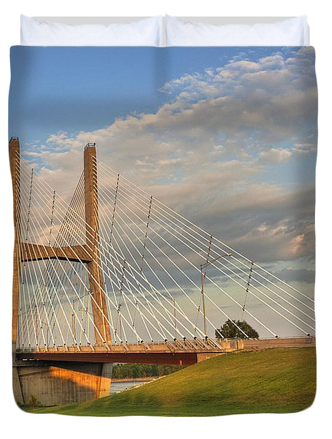 2009 Duvet Cover featuring the photograph Emerson Bridge by Larry Braun