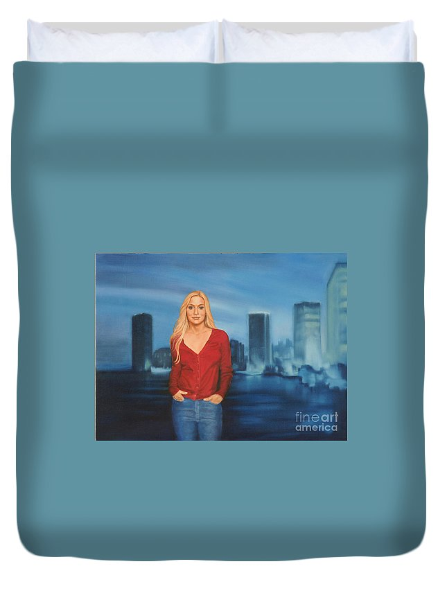 Seascape Duvet Cover featuring the painting Emily Miami Skyline by Guy C Lockwood