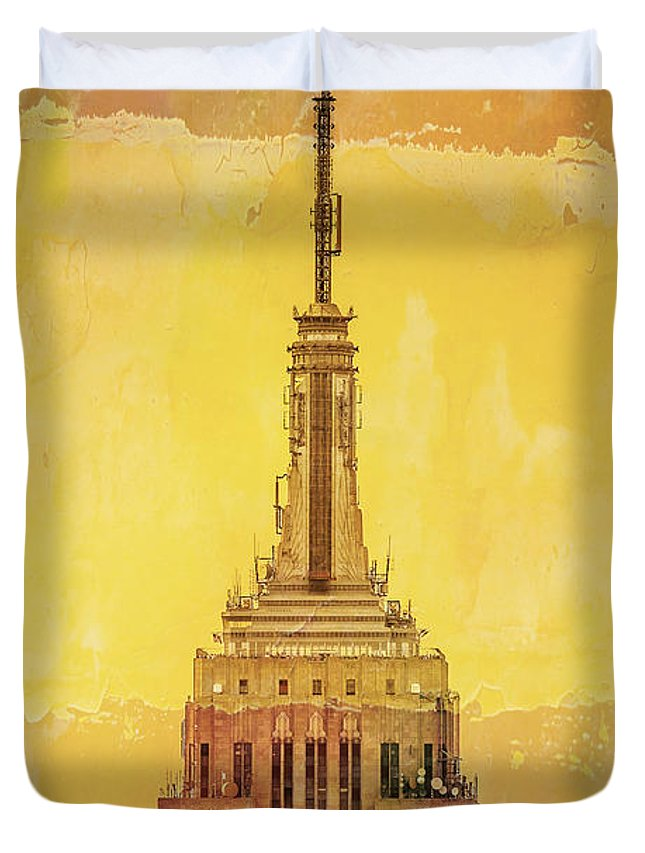 New York Duvet Cover featuring the digital art Empire State Building 4 by Az Jackson