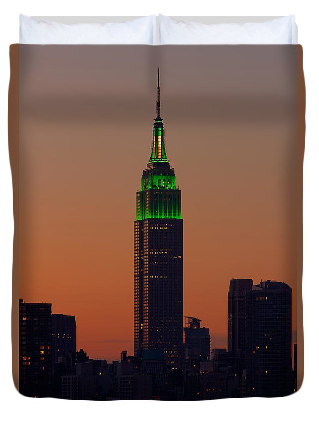 Clarence Holmes Duvet Cover featuring the photograph Empire State Building Saint Patricks Day Lighting I by Clarence Holmes