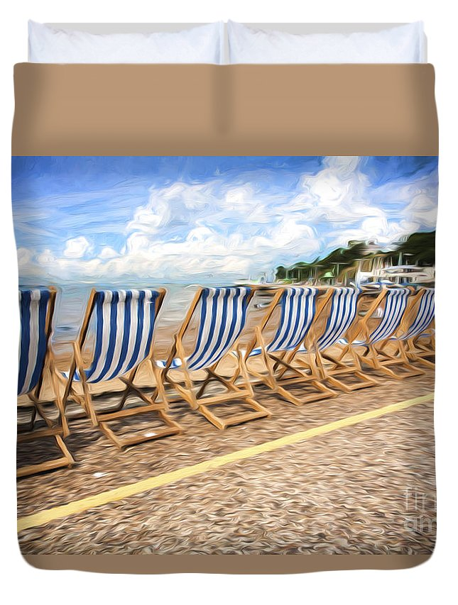 Deckchairs Duvet Cover featuring the photograph Empty deckchairs at Southend on Sea by Sheila Smart Fine Art Photography