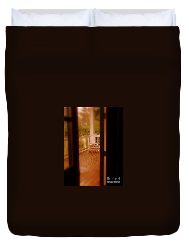 Empty Rocking Chair Duvet Cover featuring the photograph Empty Rocking Chair by Susan Garren