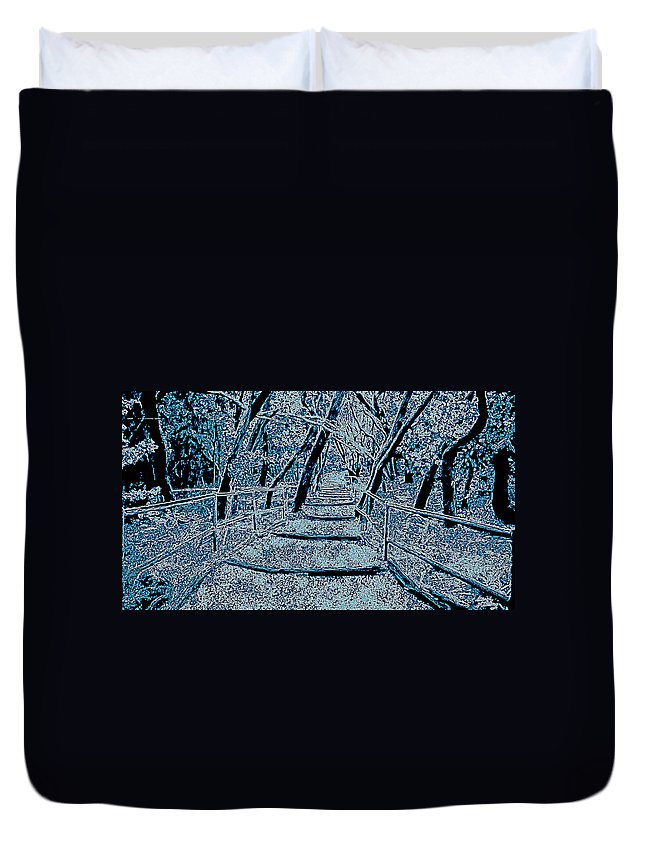 Blue Duvet Cover featuring the painting Enchanted Forest In The Winter by Bruce Nutting