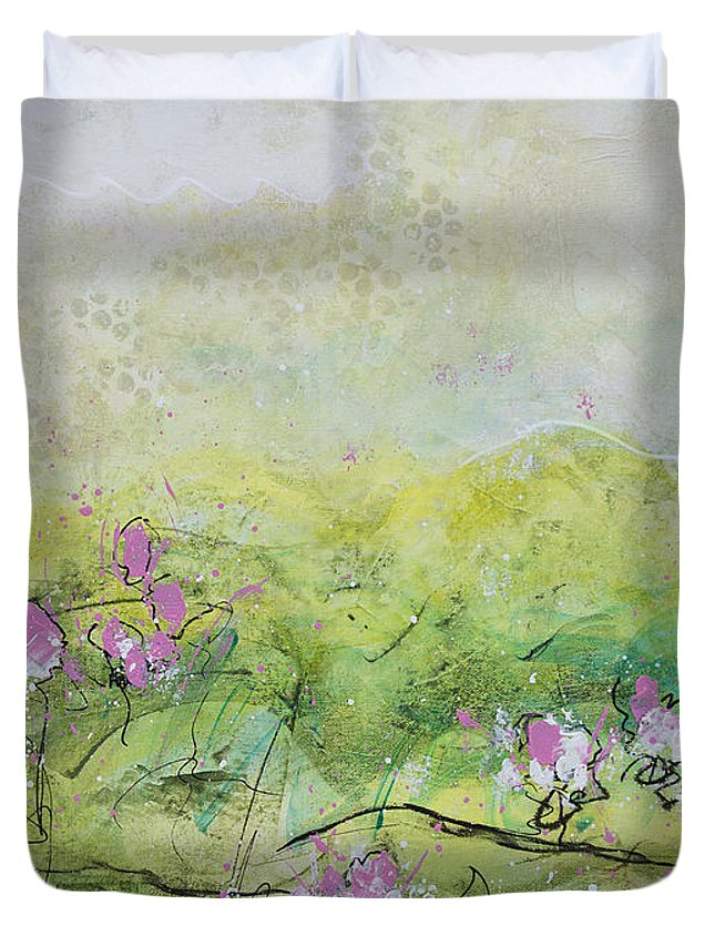 Nature Duvet Cover featuring the painting Enchanted Meadow by Julie Acquaviva Hayes
