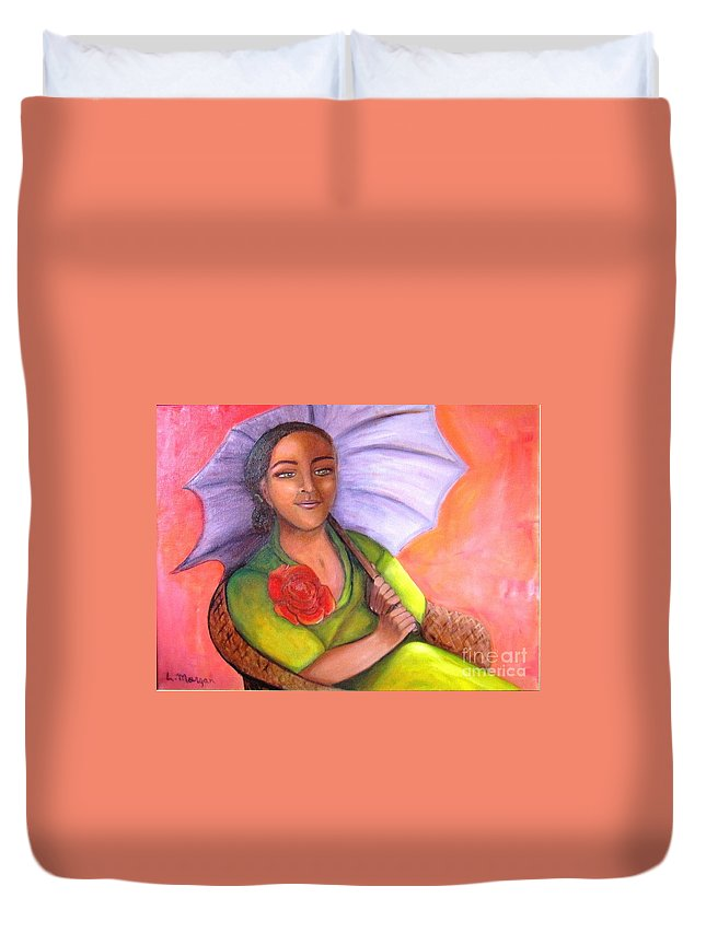 Rose Duvet Cover featuring the painting Enchanted Rose by Laurie Morgan