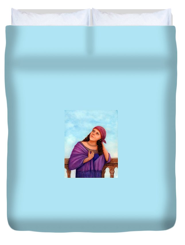 Gypsy Woman Duvet Cover featuring the painting Enchanting Carmelita by Lora Duguay