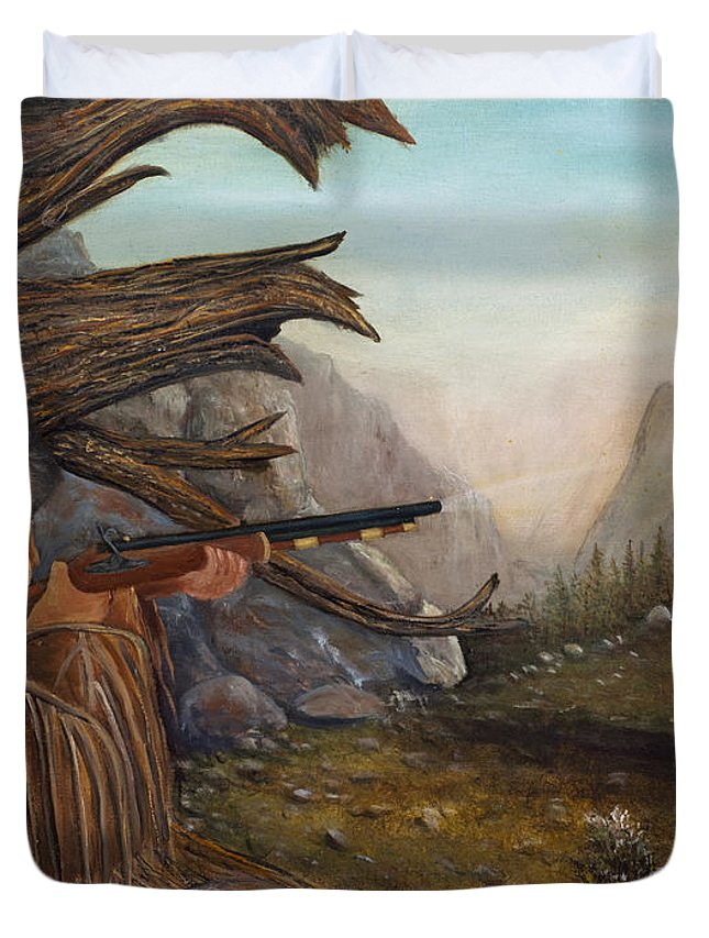 Mountain Man Duvet Cover featuring the painting Encounter At Grizzly Pass by Catfish Lawrence