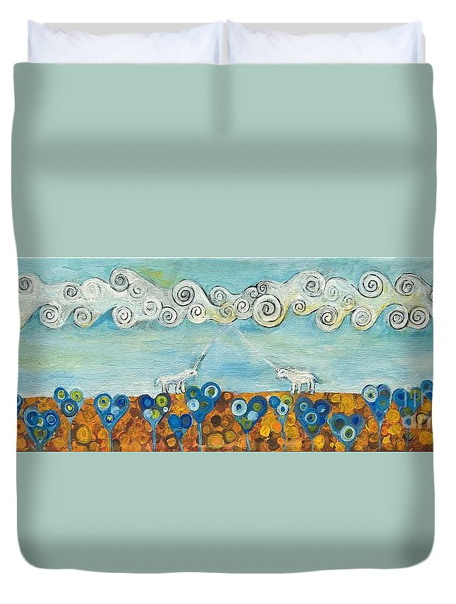Unicorn Duvet Cover featuring the painting Encounter by Manami Lingerfelt