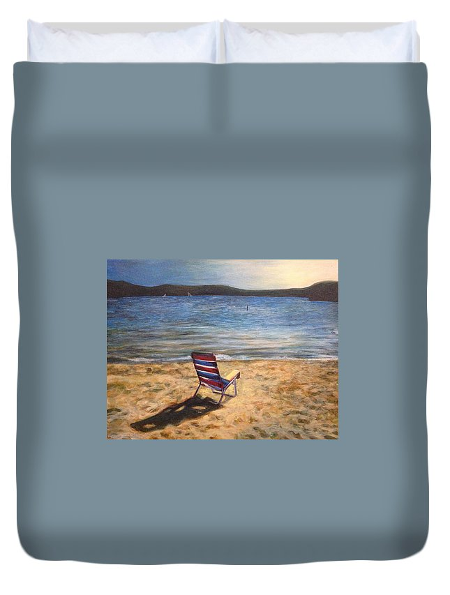 Painting Duvet Cover featuring the painting End Of Summer by Katherine Boiczyk