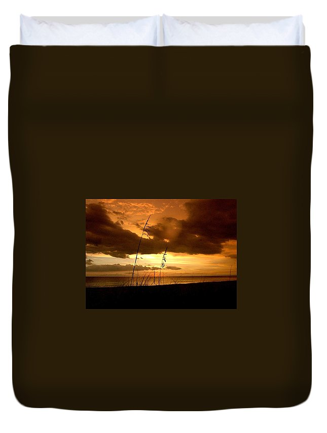 Sun Set Duvet Cover featuring the photograph End Of The Day by Mitch Caueffield