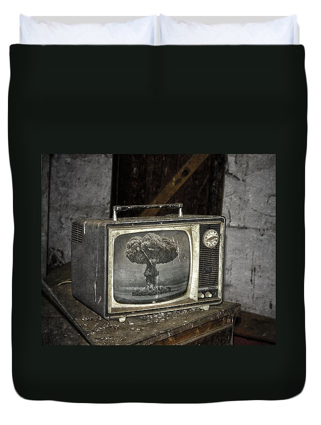 Tv Duvet Cover featuring the photograph End Of The Show by The Artist Project