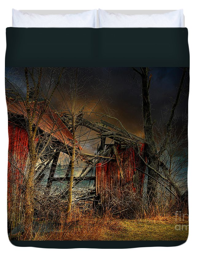 Dystopia Duvet Cover featuring the photograph End Times by Lois Bryan